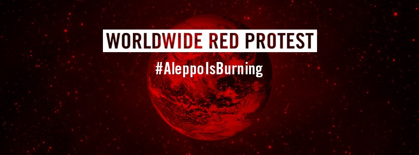 Map of Worldwide Red Protest — Aleppo Is Burning